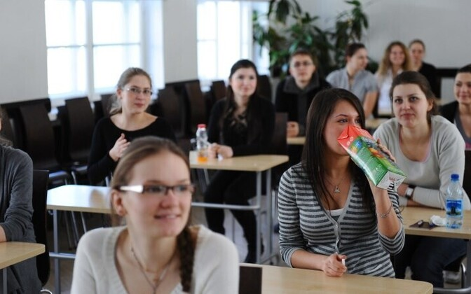 Students in a Russian-curriculum school in Tallinn appear confident before an Estonian language exam.