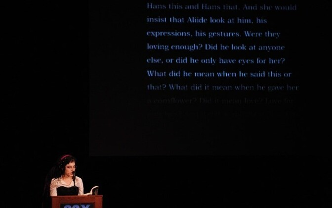 Sofi Oksanen giving a reading from 'Purge' in New York, April 2010