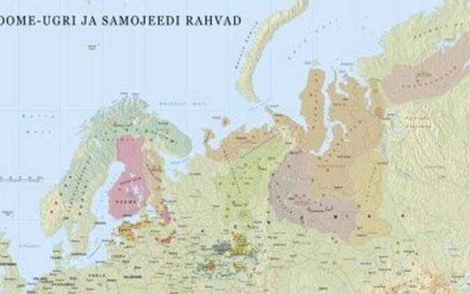 Fragment soome-ugri ja samojeedi rahvaste paiknemist tutvustavast seinakaardist.
