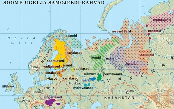 Map of the Finno-Ugric languages
