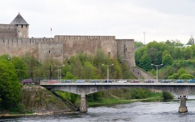 The Friendship Bridge crossing the Narva River between Estonia and Russia.