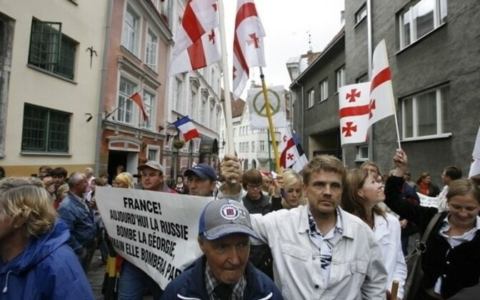 A Tallinn protest in support of Georgia in August 2008