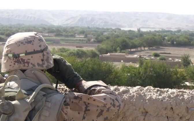 Estonian infantryman on duty in Sangin Valley, Afghanistan