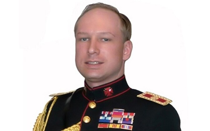 Anders Behring Breivik, wearing a self-designed uniform