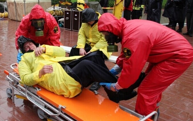 Rescuers training at a disaster excercise in Tartu