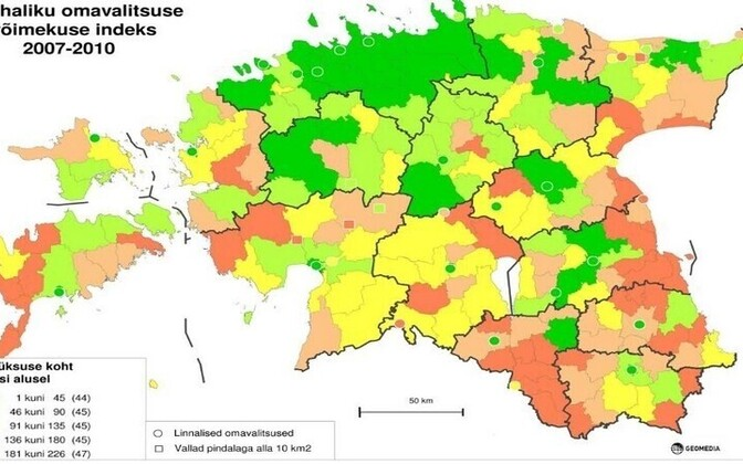 The map comparing administrative prowess of municipalities released on October 10 - the greener, the better.