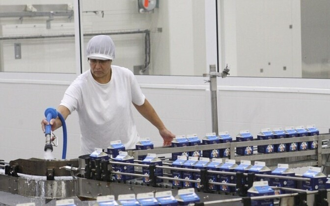 A milk packaging line at Laeva Dairy in Tartu County