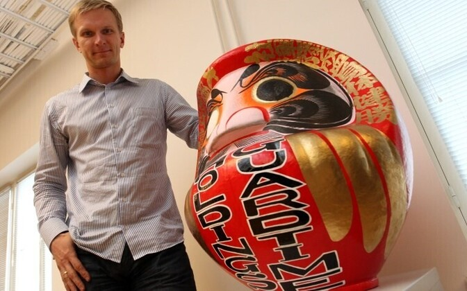 Raul Vahisalu, CEO of GuardTime, with a good luck charm from Japan