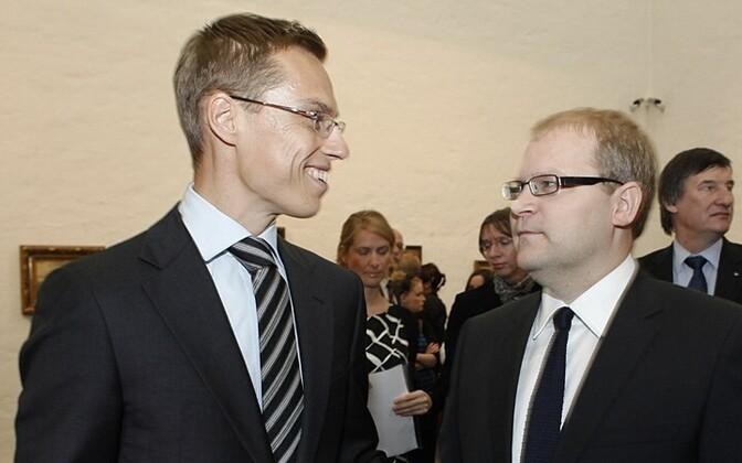 Alexander Stubb (left) with Urmas Paet