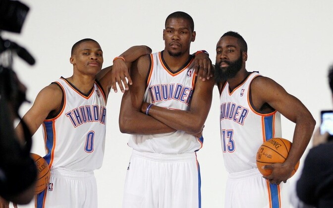 Oklahoma City Thunderi põhituumik - Russel Westbrook, Kevin Durant, James Harden