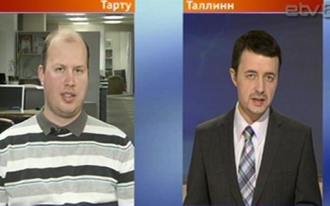 По возвращению в Эстонию Игорь Таро (слева) ответил на вопросы диктора