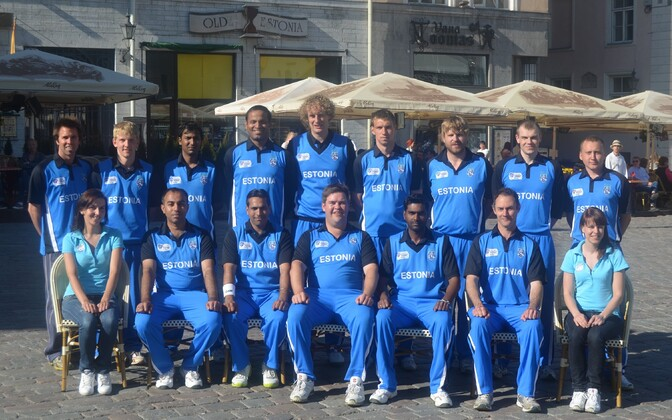 The Estonian cricket team poses in Tallinn's Town Hall Square.