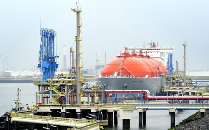A ship delivering LNG at the Port of Rotterdam