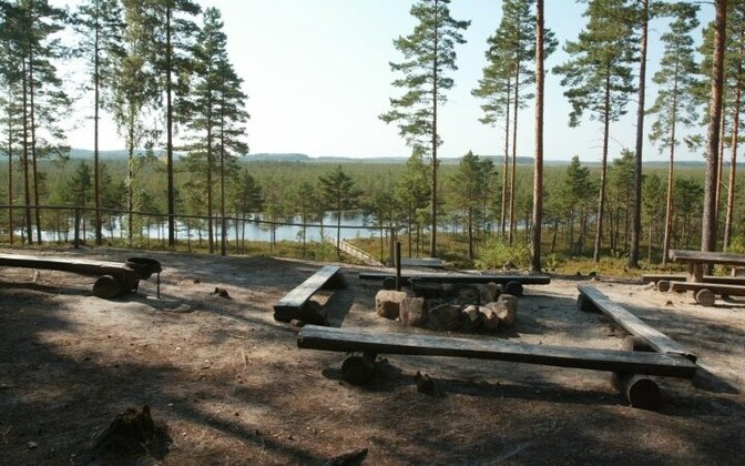 Estonian state forest board (RMK) barbecue and campfire designated zone.
