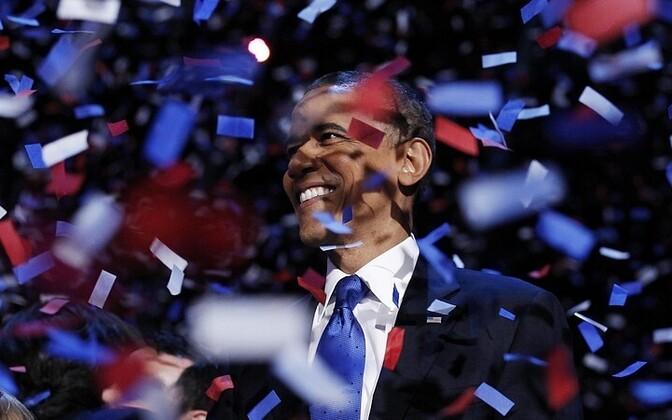 Obama tähistamas tagasivalimist.