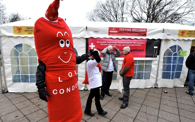 A mascot at an HIV-awareness event