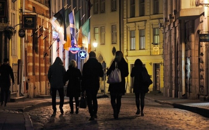 Suur-Karja street in Tallinn's Old Town, a prime drinking hotspot, is usually packed with partiers on summer nights.