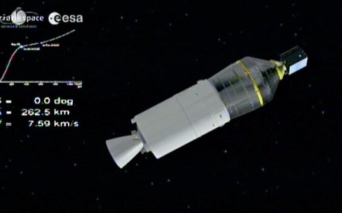 Kanderakett Vega viis ESTCube-1 orbiidile (ekraanipilt).
