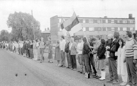 The Baltic Way in Rapla on Aug. 23, 1989.