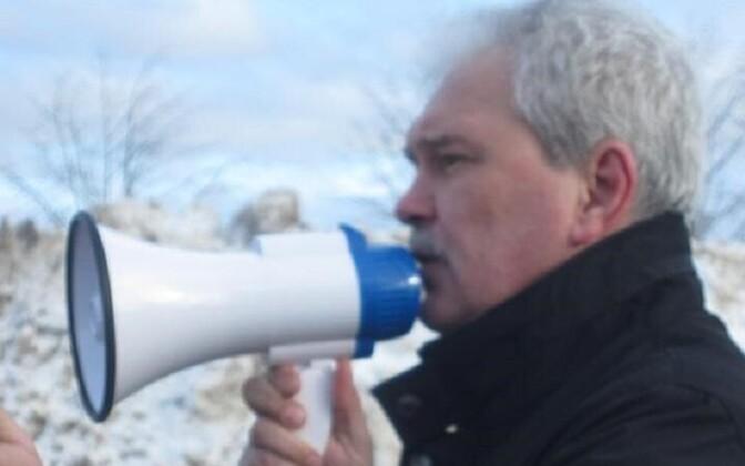 Лидер Независимого профсоюза шахтеров и энергетиков Владислав Понятовский организует в Нарве митинг протеста.