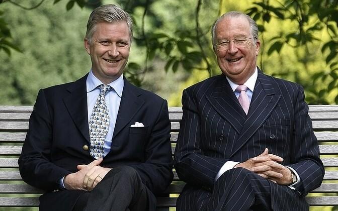 Belgia tulevane kuningas, kroonprints Philippe ja tema isa, troonilt lahkuv kuningas Albert II.