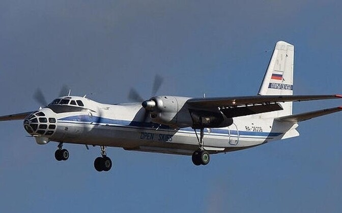 A Russian military AN-30B aircraft in flight.