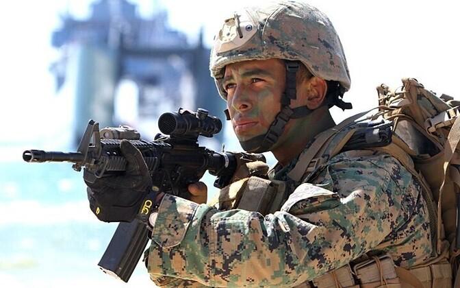 USA sõdur rahvusvahelisel suurõppusel BALTOPS 2012. aasta juunis Leedus.