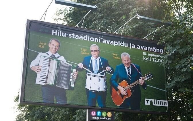 Kriminaaluurimise toonud materjal: Hiiu staadioni avamise reklaamil esinesid kolm Keskerakonna kandidaati.