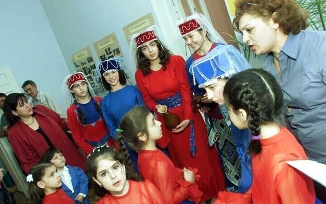 An Armenian Sunday school group preparing for