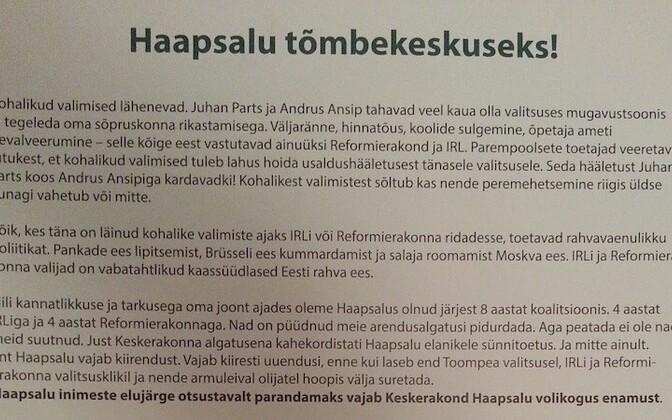 Jaanus Karilaid's letter to voters