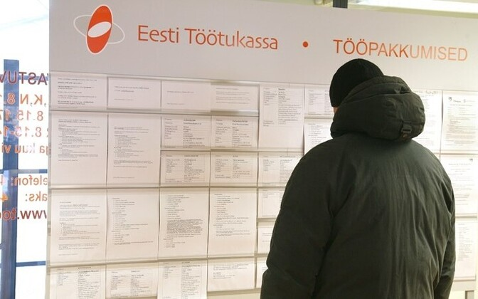 Job ads on display at an Estonian Unemployment Insurance Fund office.