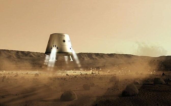 Kunstniku pilt Marsile laskunud kosmoselaevast.
