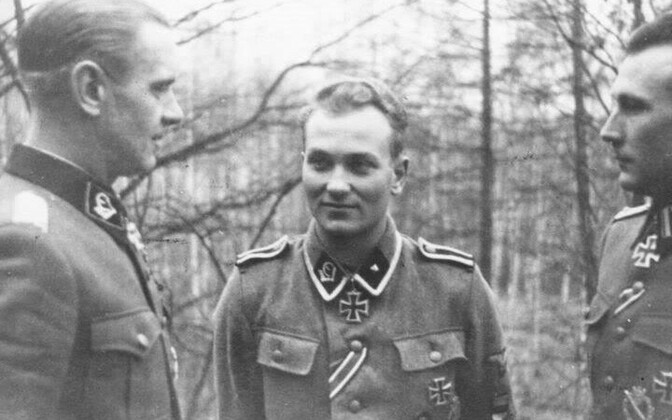 Alfons Rebane (left) together with fellow Estonians Harald Nügiseks and Harald Riipalu, in the uniform of the 20th Waffen Grenadier Division (1st Estonian) of the SS.