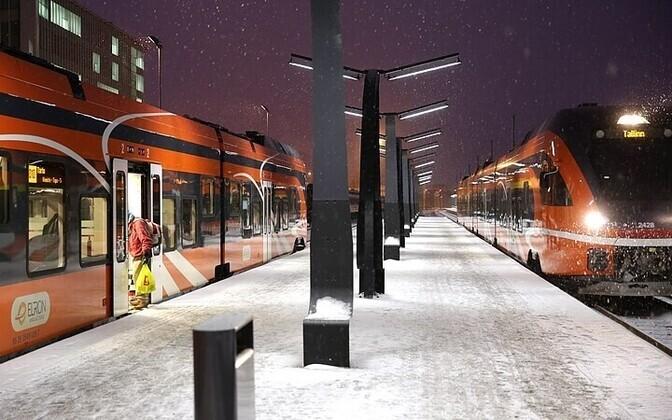 Elron trains in Tallinn.