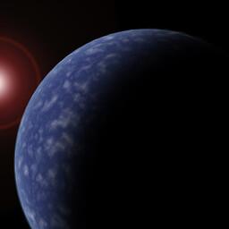 Kunstniku nägemus kääbuse ümber tiirlevast eksoplaneedist.