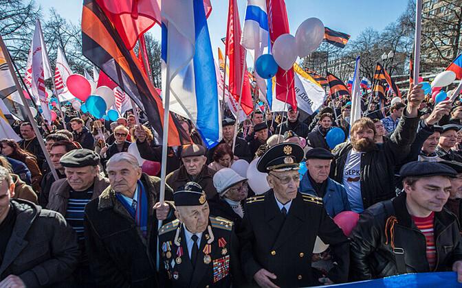 kremli-meelsed aktivistid 10. märtsil miitingul Moskvas