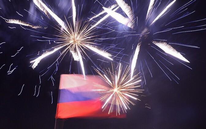 Eilne ilutulestik Simferopolis tähistamaks referendumi tulemust.