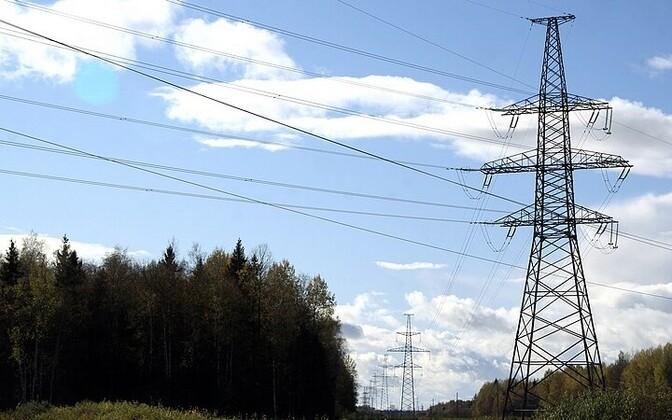 High voltage power lines in Western Estonia.