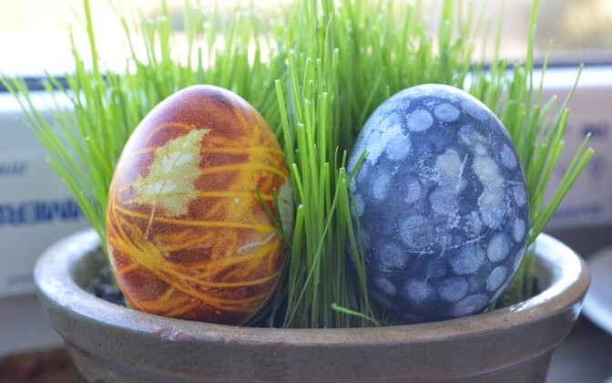 Traditionally decorated Easter eggs in Estonia