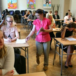 Sütevaka High School students taking a state exam.