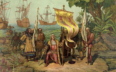 Kunstniku nägemus Kolumbuse maabumisest Bahama saartel.