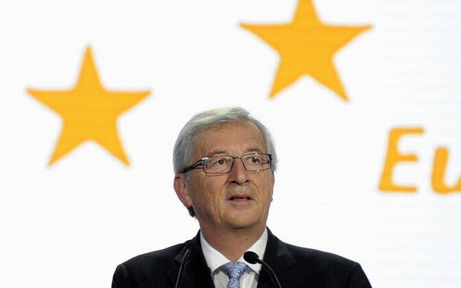 Euroopa Rahvapartei kandidaat Euroopa Komisjoni presidendi kohale Jean-Claude Juncker 25. mail Brüsselis esislgsetele valimistulemustele reageerimas