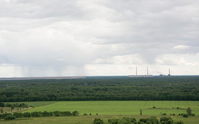 Vaade Sinimägedelt Narva elektrijaamale