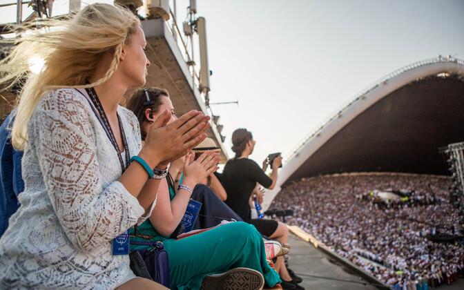 Spectators watch the 2014 Song Festival in Tallinn.