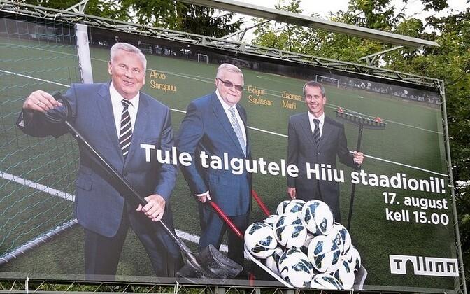 Arvo Sarapuu, Edgar Savisaar and Jaanus Mutli on an ad promoting a volunteer work day at Hiiu Stadium in Tallinn ahead of the 2013 local elections.