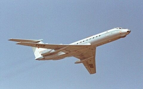 A Tupolev Tu-134 similar to the one escorted by NATO jets last week, in Soviet-era livery.
