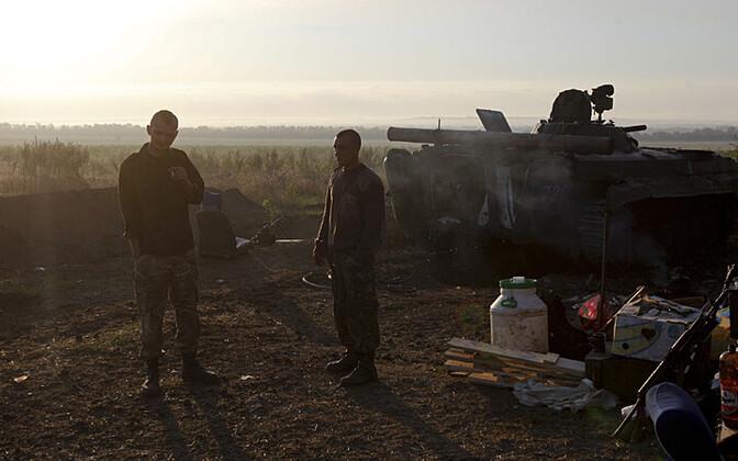 Ukraina sõdurid 21. augustil laagris Luganski piirkonnas; pilt on illustratiivse tähendusega