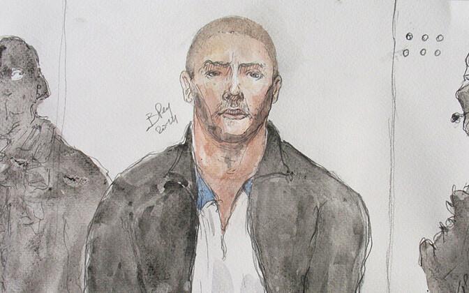 Kohtus joonistatud portree Mehdi Nemmouche'ist