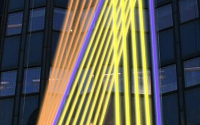 Meeli Kõiva valgusteos Helsinkis Forumi fassaadil