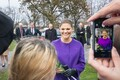 Crown Princess Victoria visiting the Estonia ferry memorial, where she met with the pupils of Gustav Adolf Grammar School